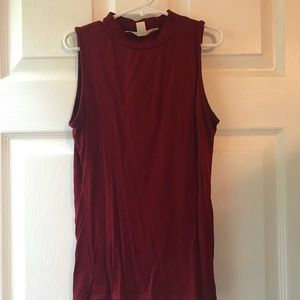 Burgundy Fitted Tank Top